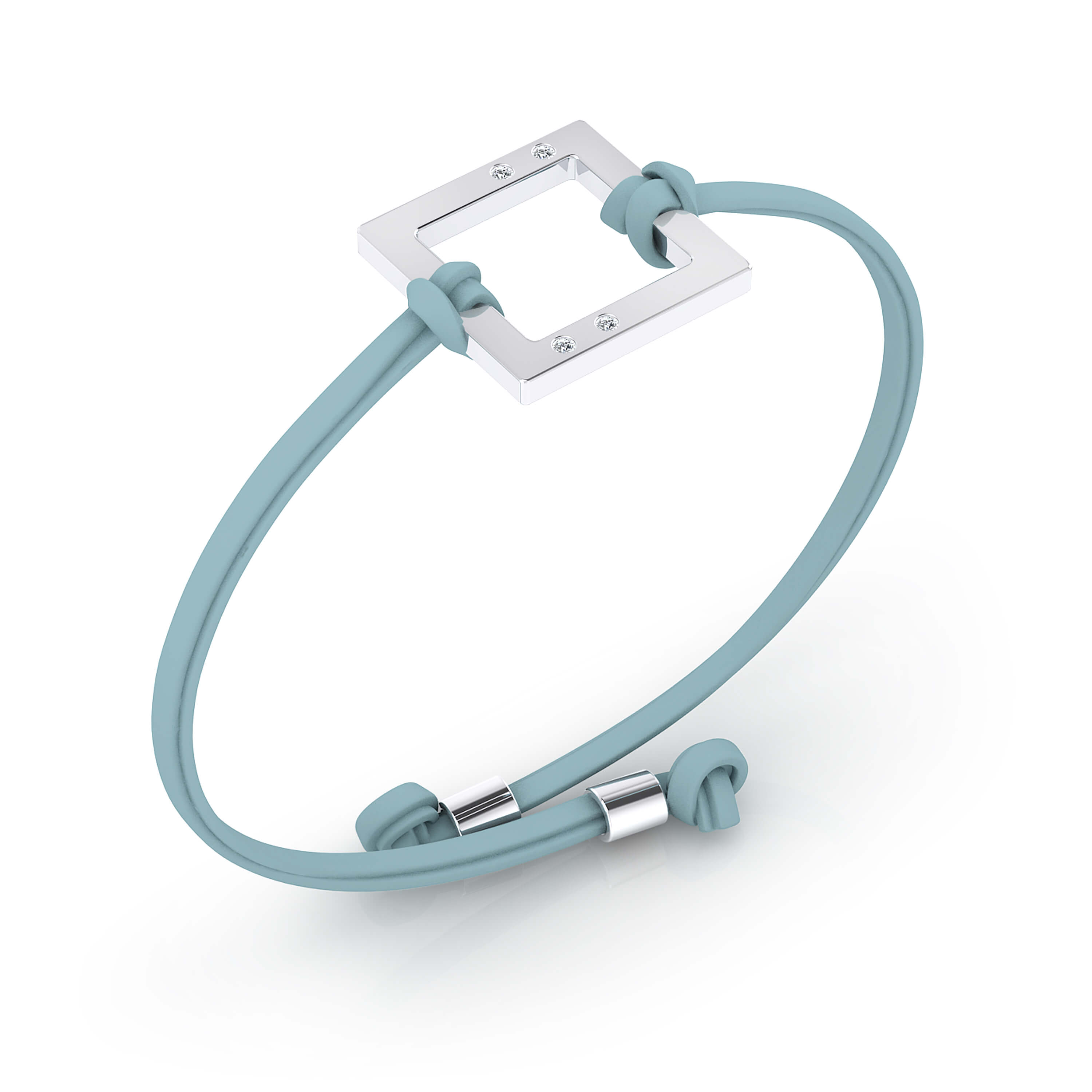 Silver bracelet with blue leather cord and 4 diamonds.