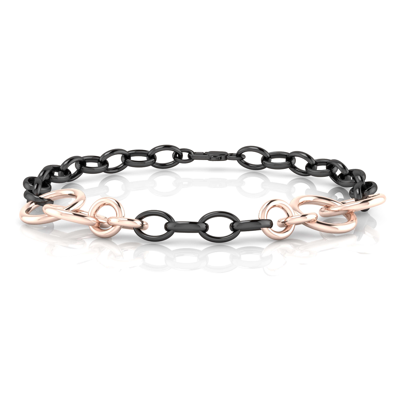 Brazalete de aros de oro blanco rodio negro y de oro rosa de 18k