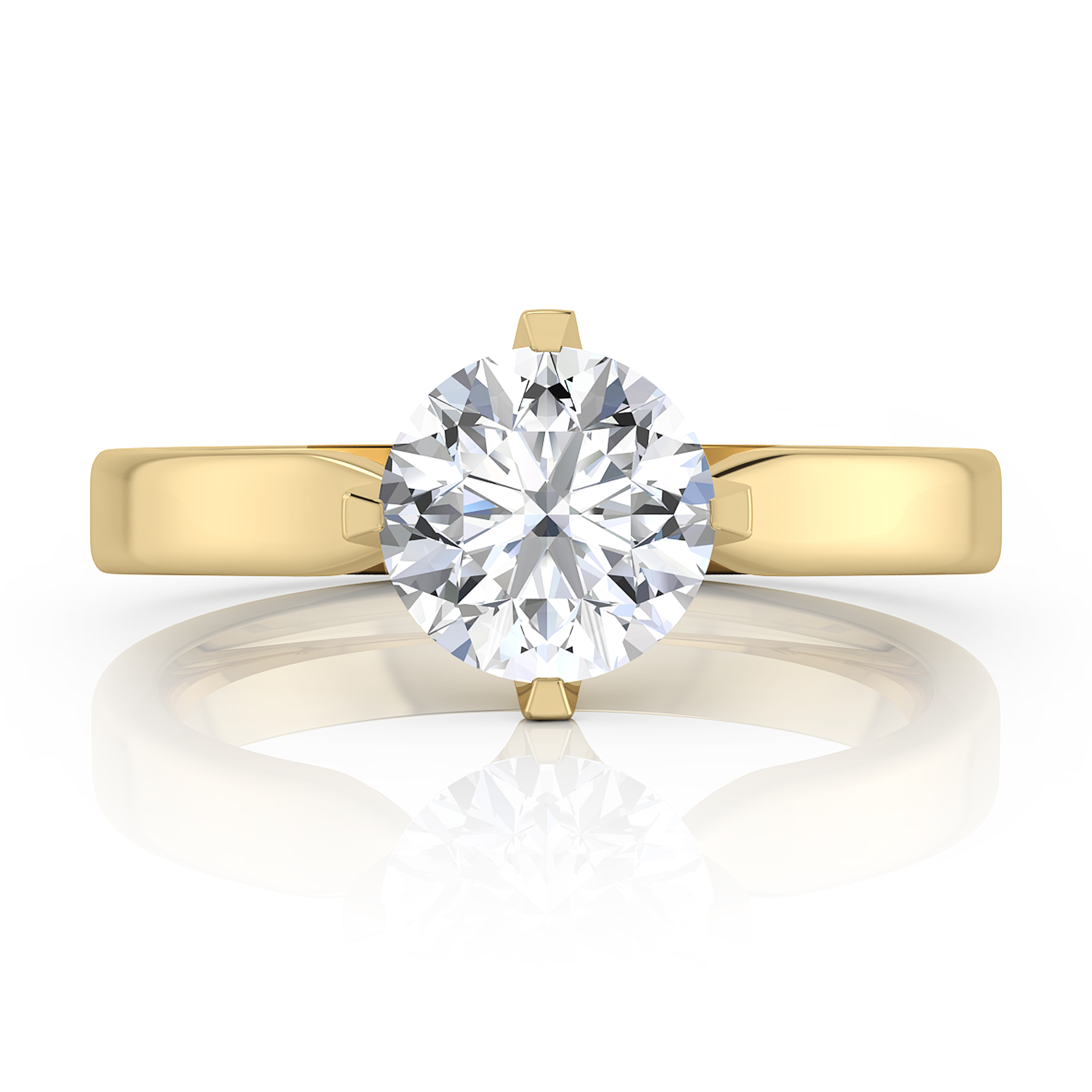 Selected engagement ring, four points, solitary style, 18 k yellow gold