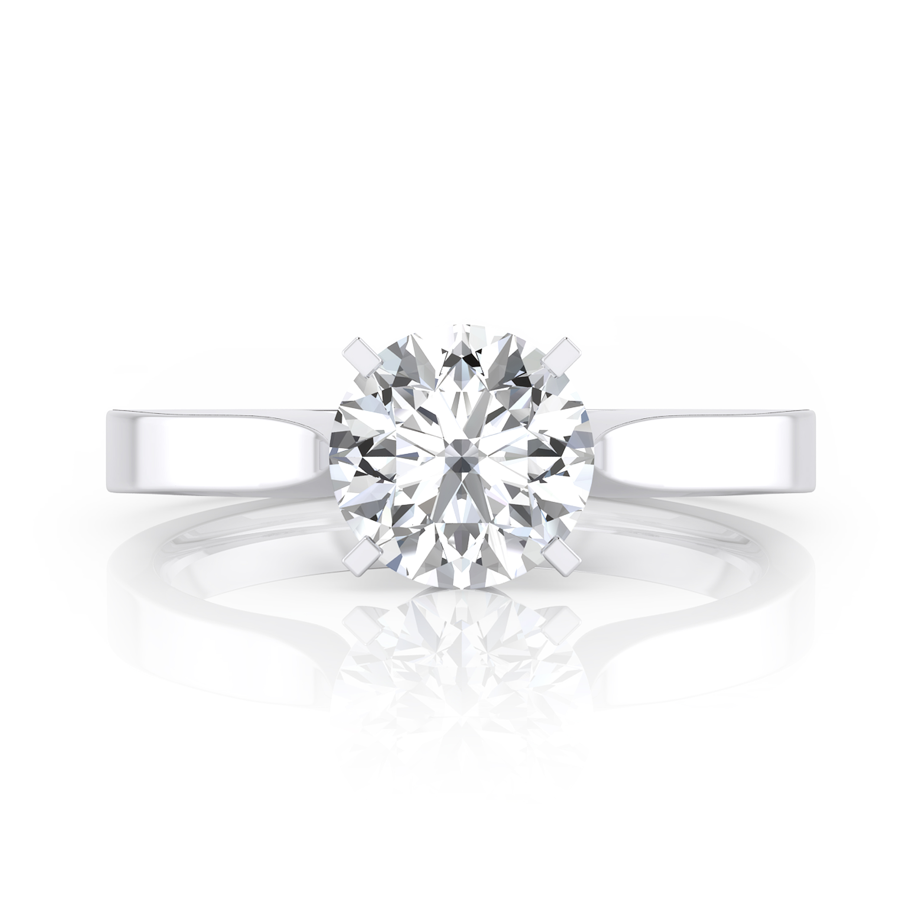 Classic engagement ring, four points, solitary style, 18 k white gold