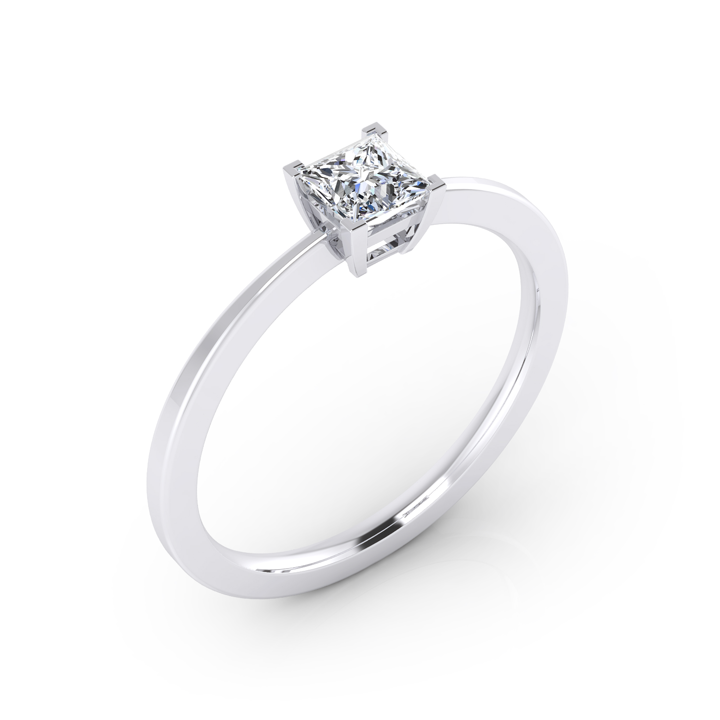 Solitaire engagement ring, 18K white gold, with princess-cut central diamond