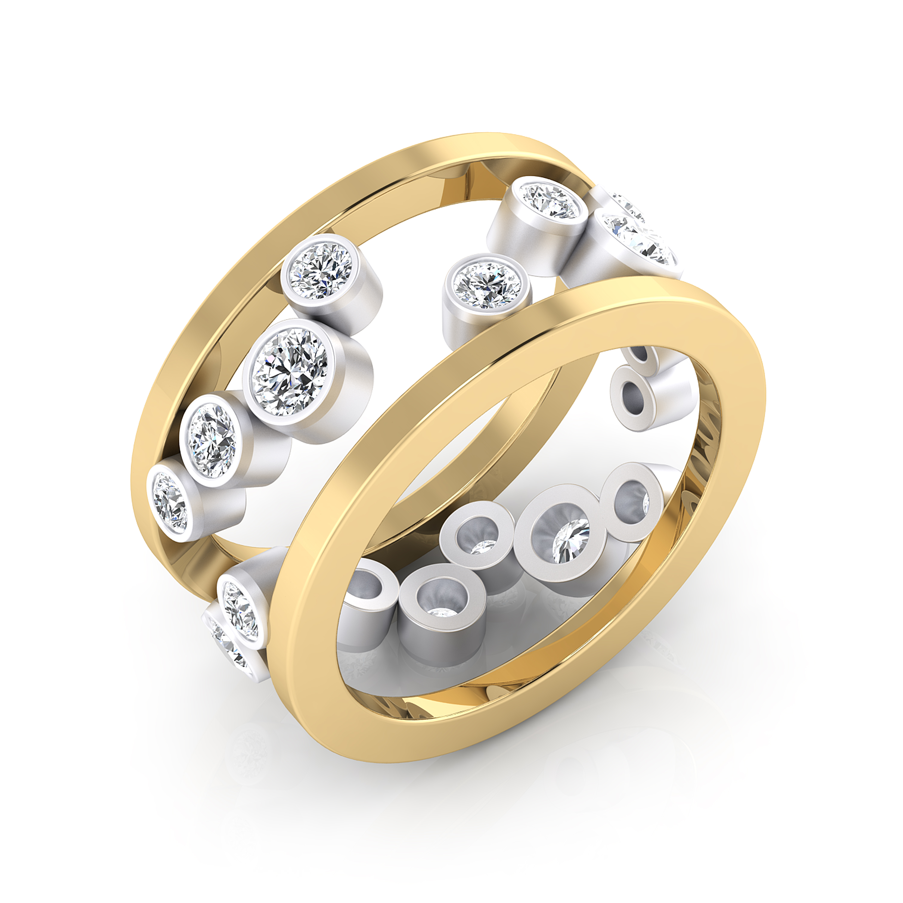 Ring made of 18K yellow and white gold, with 17 brilliant-cut diamonds.