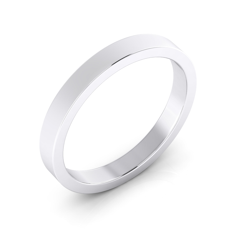 Men wedding ring, flat surface, made of 18K white gold.