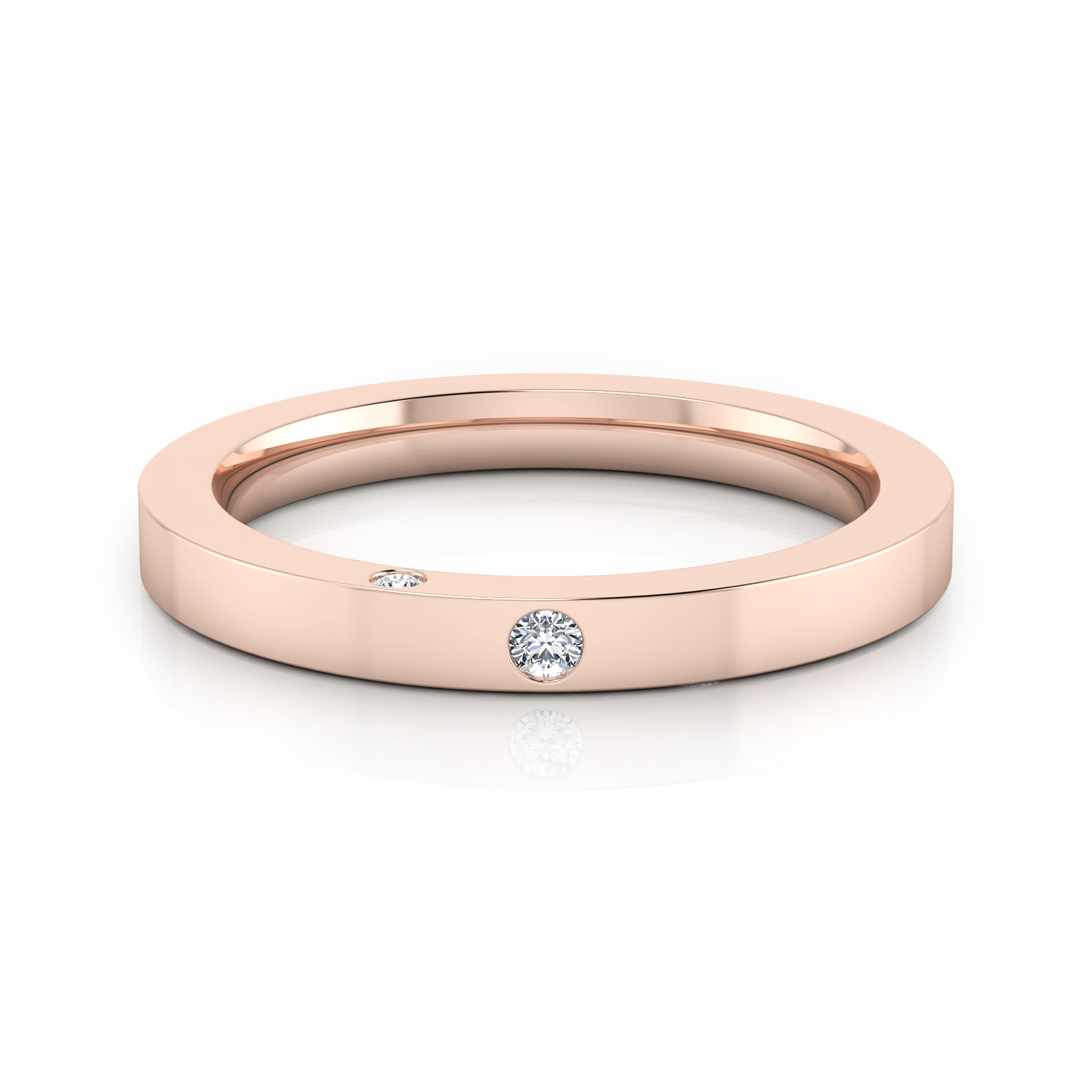 Wedding Ring 18k pink gold 1 brilliant cut diamond