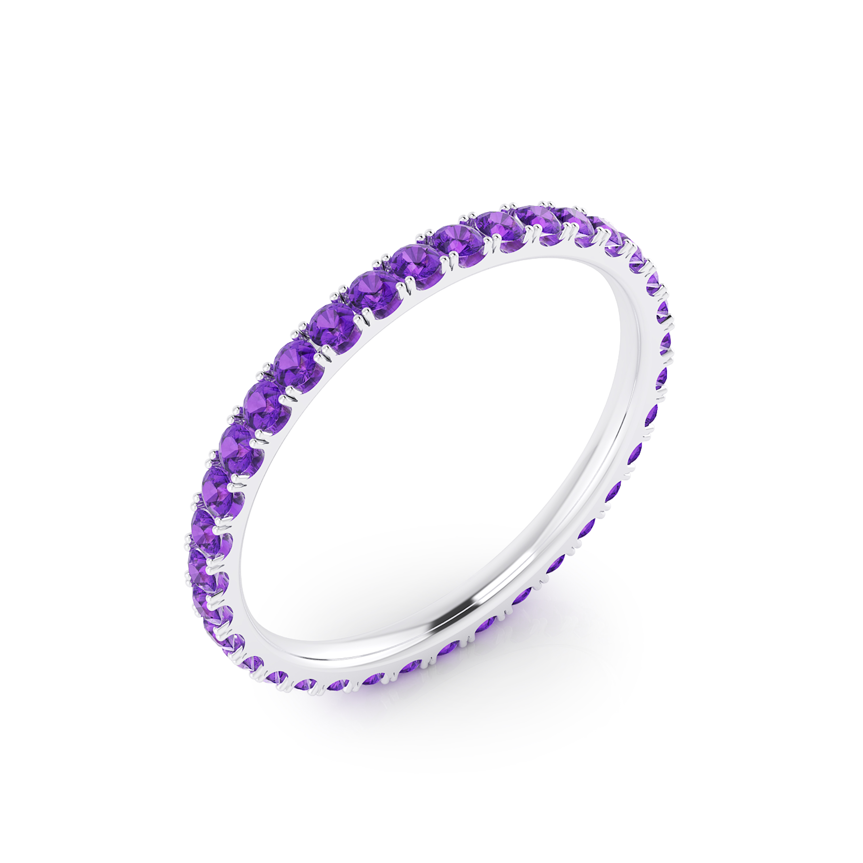 Amethysts ring made of 18k white gold