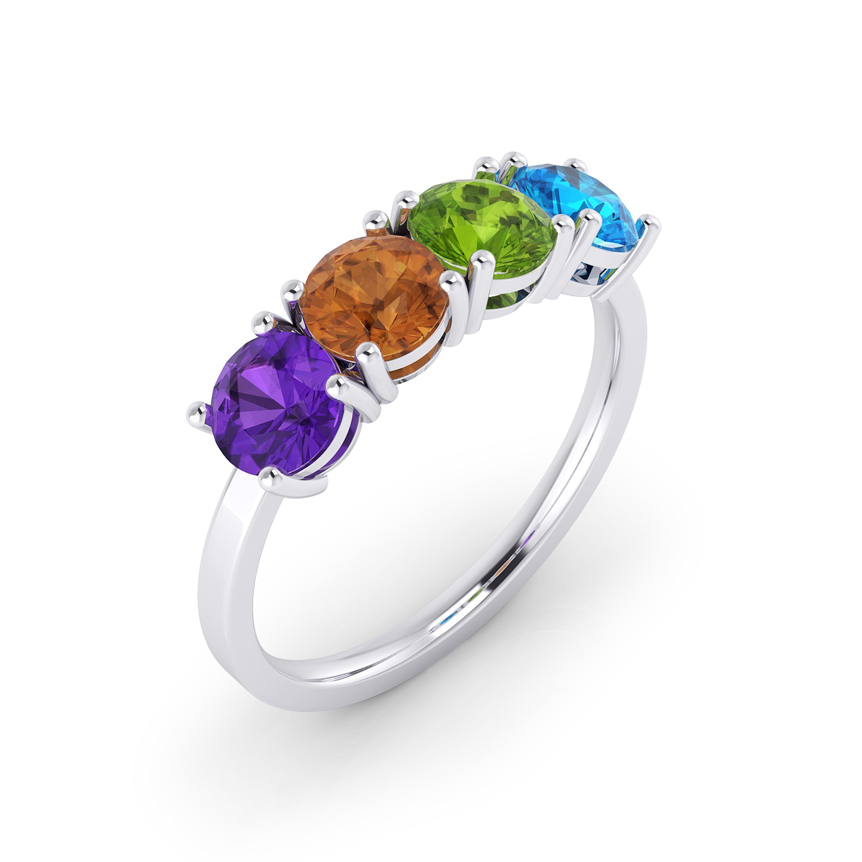 Anell de plata amb pedres precioses