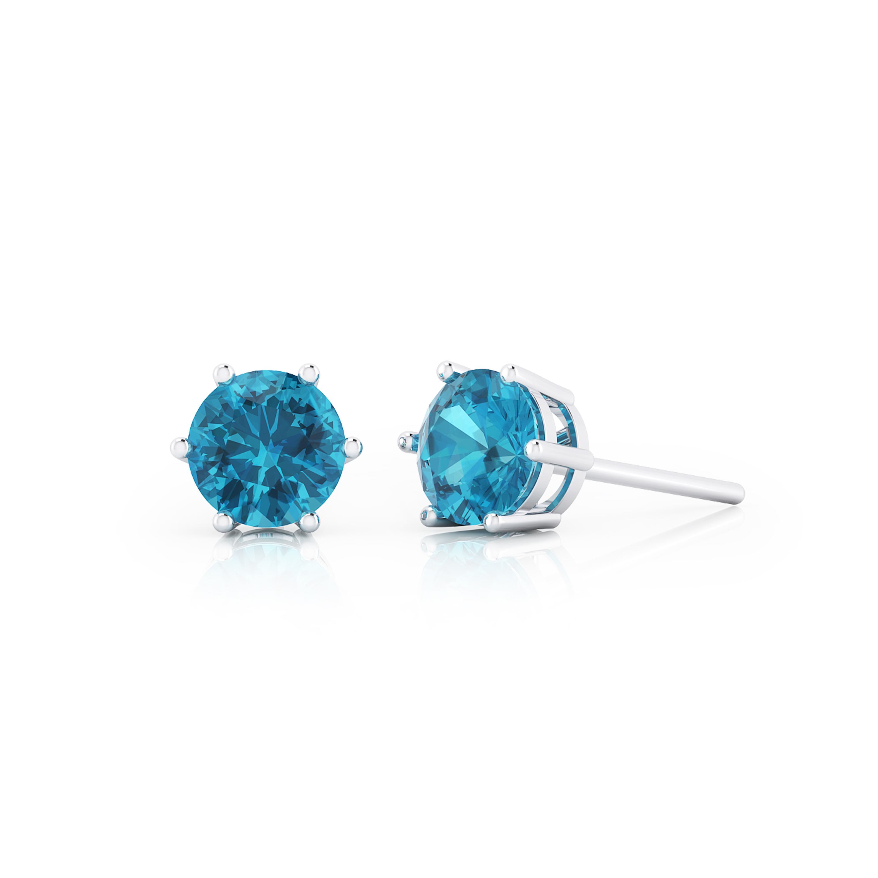 Silver earrings with blue topaz