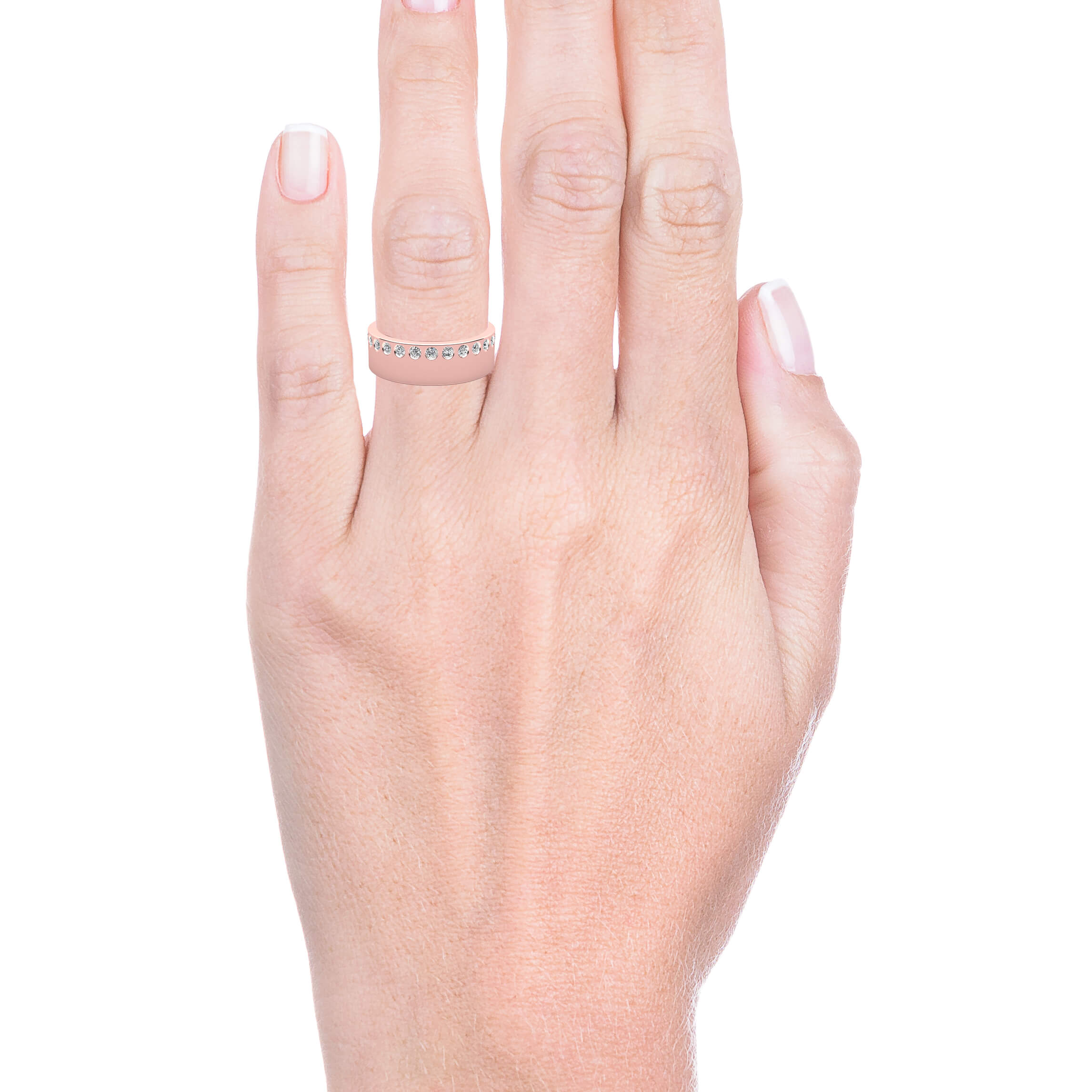 Wedding Ring 18k pink gold and 26 brilliant cut diamond