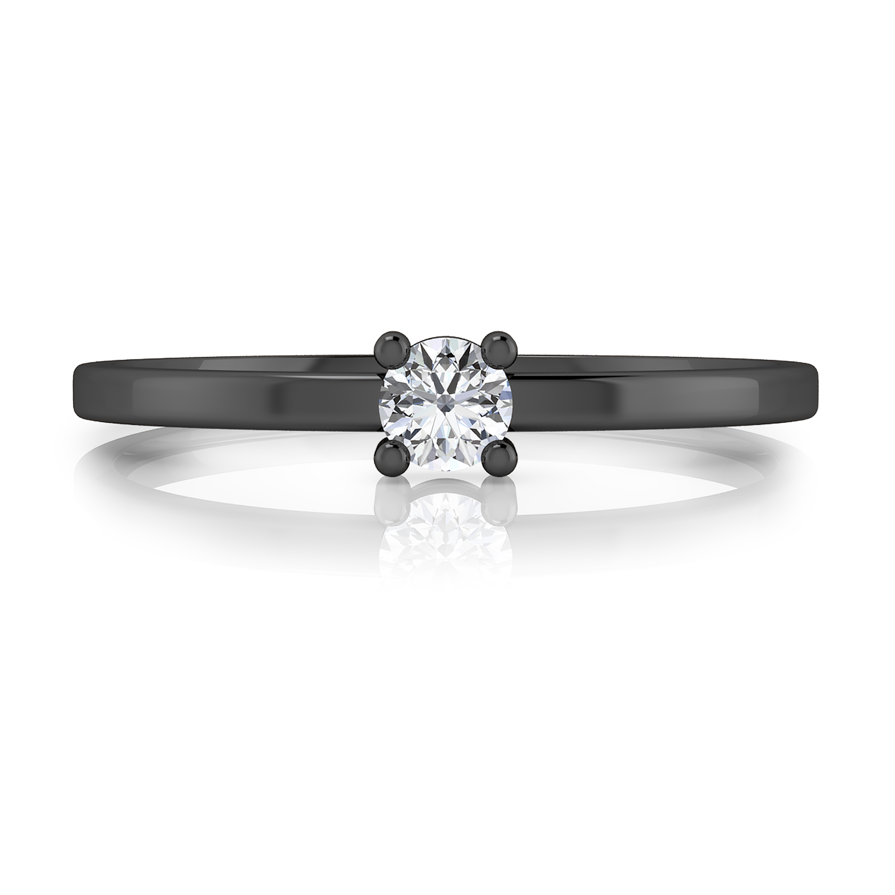 18kt black gold solitaire ring with a round cut shape diamond, stylized arms and glossy finish.