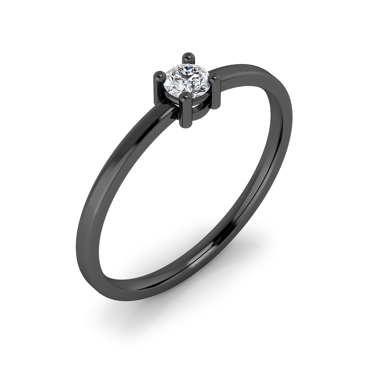 Solitario de compromiso de oro negro de 18kt, brazos estilizados y diamante talla brillante.