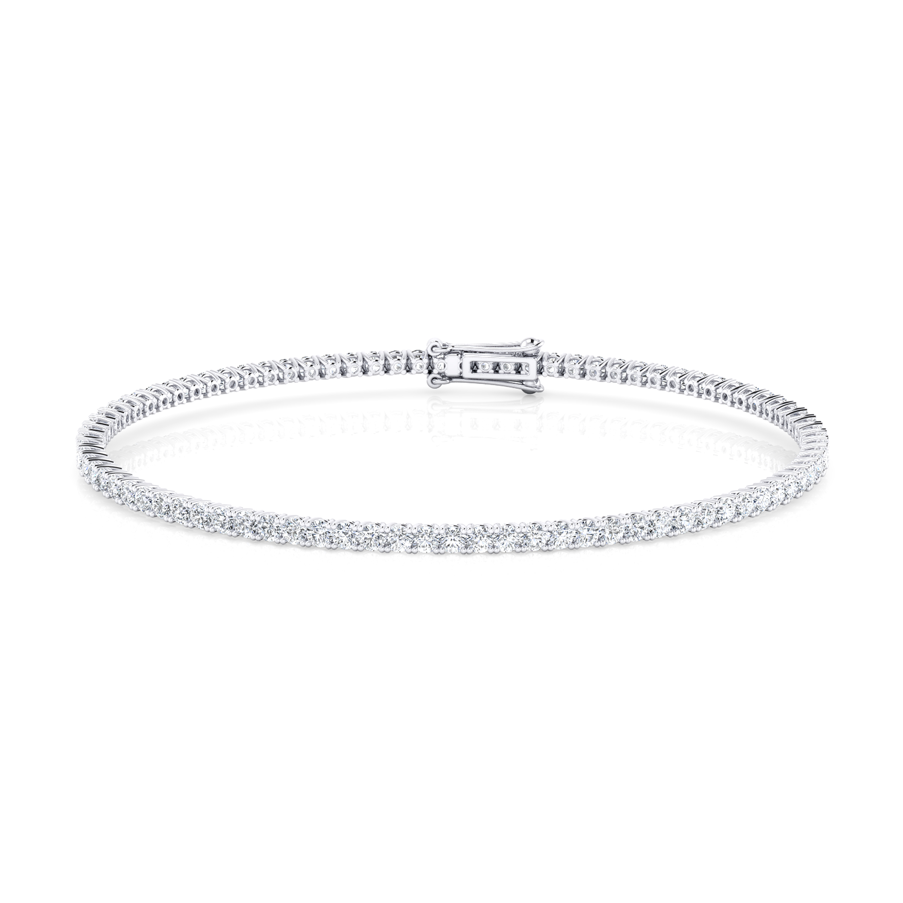 Riviere de diamants d'or blanc de 18kt amb diamants de 0,04qt - grapa rodona
