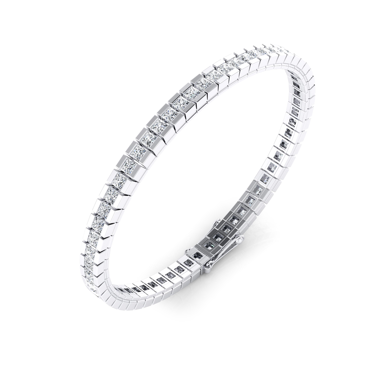 Diamond bracelet, 18k white gold. (princess cut diamonds of 0,082ct)