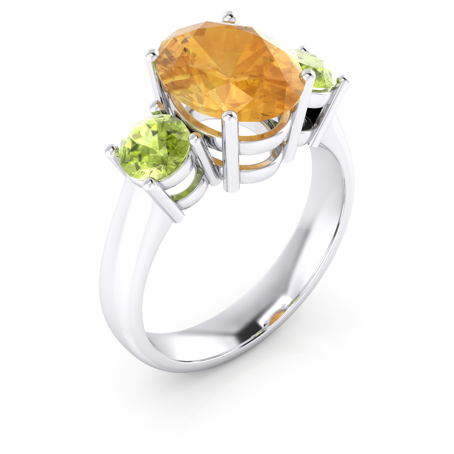 18kt white gold ring with Citrine Quartz and Peridots