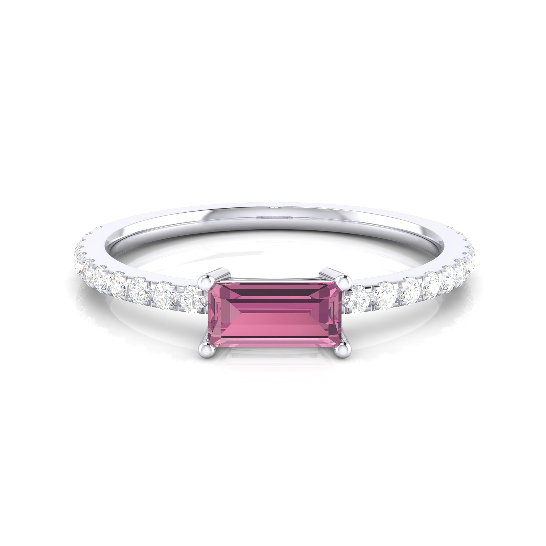 Anell amb safir rosa i diamants