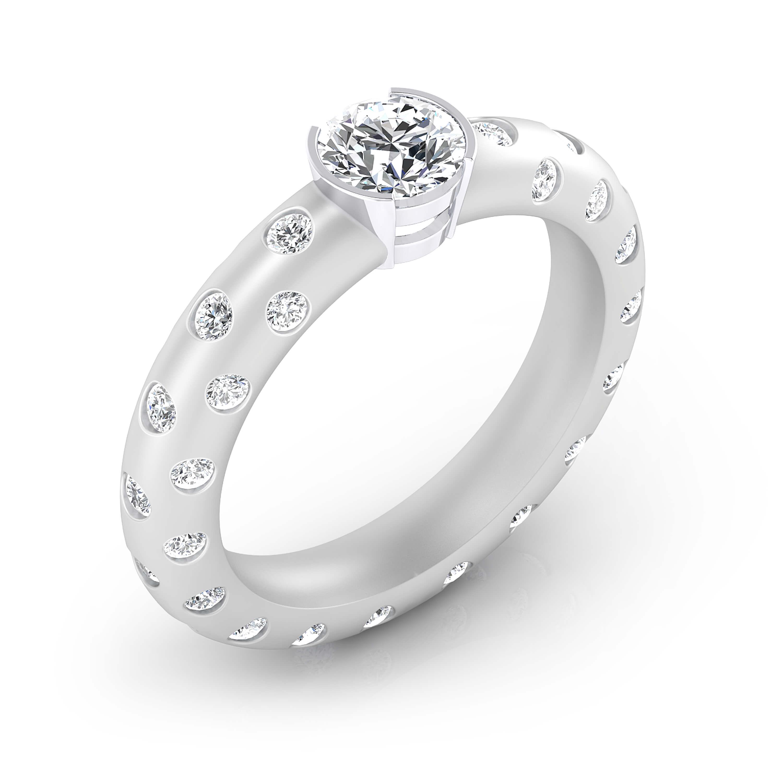 Diamond Rings 18k white gold 56 brilliant cut diamond