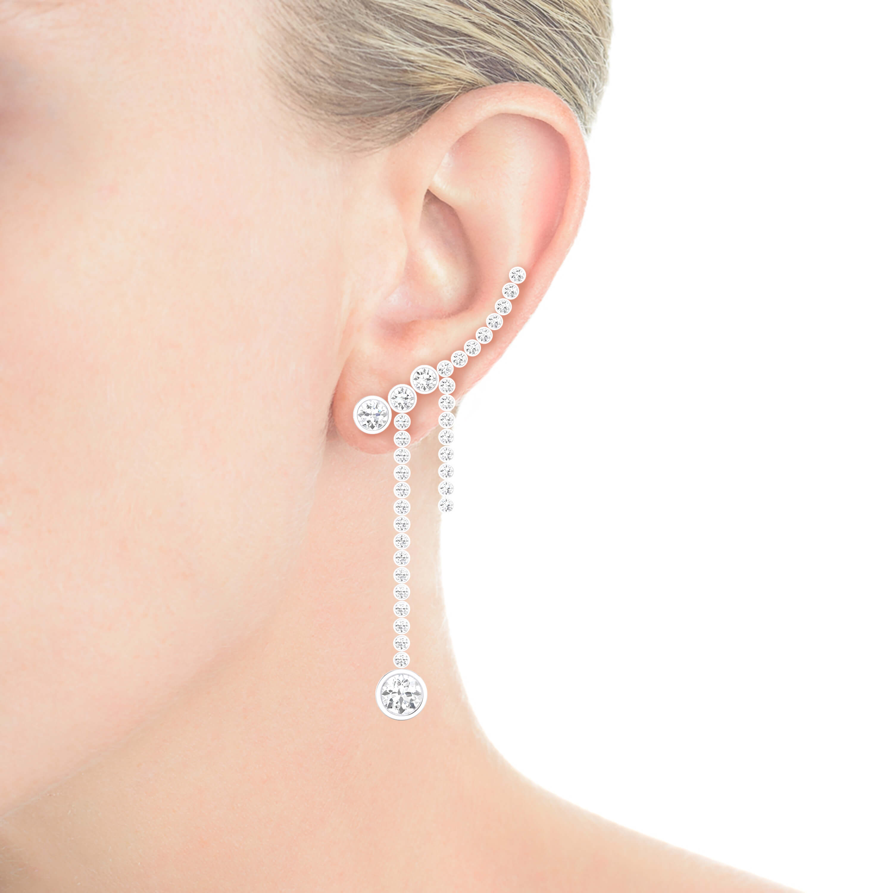 Earrings 18k white gold with 70 diamonds