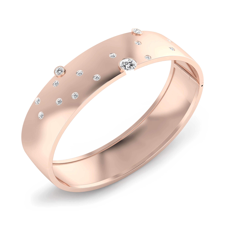 Bracelets 18k pink gold with 17 brilliant cut diamond