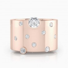 Anell de diamants or vermell 18k amb 14 diamants