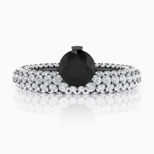White gold diamond rings with 143 diamonds with black diamond