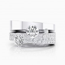 White gold Diamond ring with 190 diamonds and 2 central diamonds