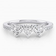 White gold diamond ring with 3 heart-cut diamonds