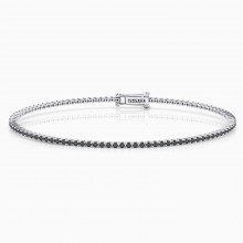 Riviere de diamants d'or blanc de 18kt amb diamants negres de 0,01qt - grapa rodona