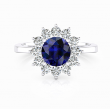 Anell d'or blanc de 18kt amb safir i diamants
