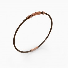 Bracelets 18k red gold and leather bracelet